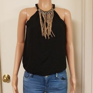 Juniors silky fringe and beaded top